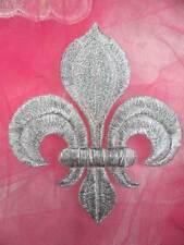 "GB323 Fleur De Lis Applique Silver Metallic Iron On Patch 4"""