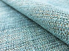 Water & Stain Resistant Aqua Blue Olive Tweed Chenille MCM Upholstery Fabric