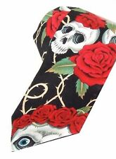Hemet Skulls and Roses Day of the Dead Necktie Mens Tie Punk Psychobilly