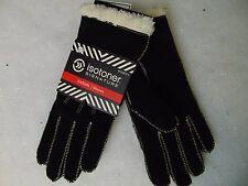 Isotoner Moccasin Stitch Suede Gloves SherpaSoft Lining Black Large #C172