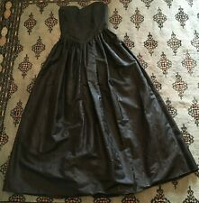 VTG 80's Black Moire Maxi Strapless Sweetheart Bustier Goth Prom Dress XS