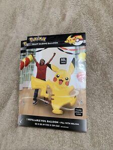 "Pokemon Life Size for Kids Pikachu Jumbo Foil Balloon Air Walker 52""x 57"" In"