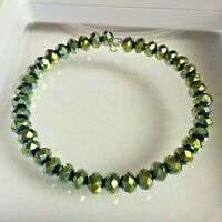Blue / Green / Gold Coloured Faceted Glass Bead Memory Wire Bangle / Bracelet.
