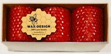 """Wax-Design 100% Pure Beeswax 2"""" Red Candle Set of 3 NEW Handrolled in Minnesota"""