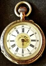 """SMALL SIZE LADIES""""S POCKET WATCH 800 SILVER CASE FOR REPAIR ENAMELED DIAL"""
