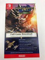 Unused Monster Hunter Rise Digital Deluxe Edition Insert for Nintendo Switch