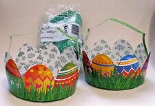 Cestilla Canastas De Pascua Cartón Hierba Set Huevos Conejo