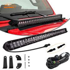"Jeep JK Wrangler Hood 20"" Single Row LED Light Bar Slim Combo+Wiring Harness Kit"
