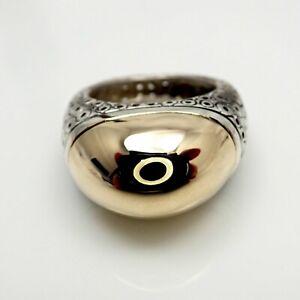 Estate Vintage Pedro Boregaard 18k Gold Sterling Silver Ring Size 5.5