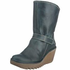 FLY LONDON YOSHI PETROL GREEN LEATHER PULL ON WEDGE BOOTS UK 4 EUR 37 RRP £130