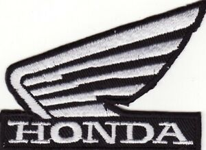 """Honda 3 1/8"""" White Wing on Black Embroidered Iron On Motorcycle Patch New"""