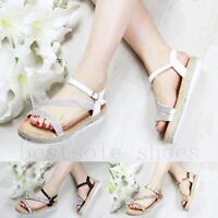LADIES WOMENS DIAMANTE WEDGE SANDALS HEELS BUCKLE STRAP SUMMER BEACH SHOES SIZE