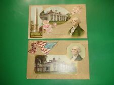 Jb484 Vintage Lot of 2 Patriotic Flag George Washington Postcards Winsch Back