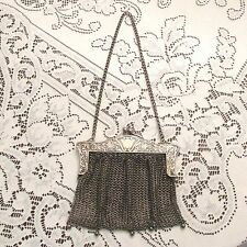 Antique Victorian Jeb Co German Silver Mesh Evening Purse Bag; Reduced!