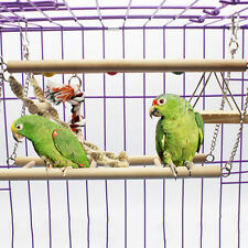 Wooden Parrot Hammock Hanging Ladder Bridge Bird Toy For Stand Swinging Climbing