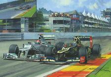 2012 Belgian GP Spa, Raikkonen Lotus, Schumacher Mercedes door M. Turner (Litho)