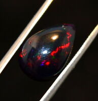 1.90Ct Natural Color Play Ethiopian Black Opal Pear Cabochon Loose Gemstone BO53