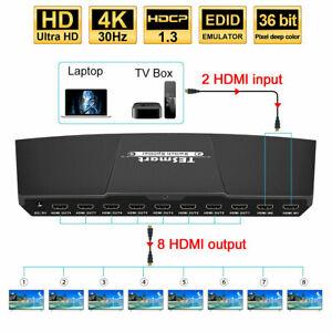 TESmart  2 in 8 out HDMI Switch Splitter 2x8 4K@30hz HDCP 1.3