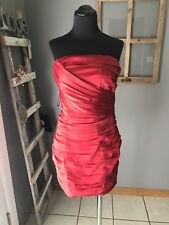 Express NWT $98 True Red Satin Ruched Lined Strapless Evening Party Dress 4