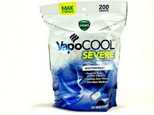 Vicks VapoCool Severe Max Strength Sore Throat Medicated Drops 200ct Winterfrost