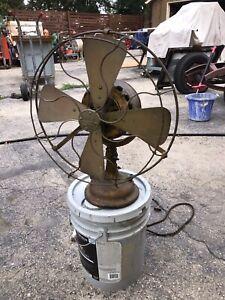 Antique GE Brass Blade Fan Pancake Motor Works Needs Restoration