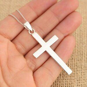 925 Sterling Silver Large Plain Cross Crucifix Pendant Necklace Jewellery