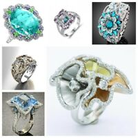 Gorgeous Women Jewelry 925 Silver White Sapphire Floral Ring Engagement Rings