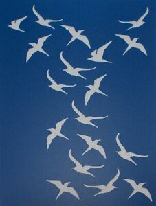 Scrapbooking - STENCILS TEMPLATES MASKS SHEET - Bird Background Stencil