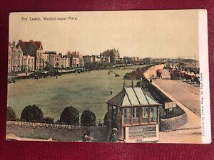 POSTCARD THE LAWNS WESTON SUPER MARE Somerset  (1905)