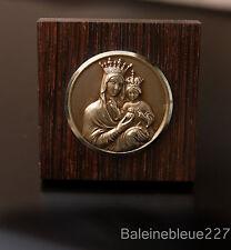 ANTIQUE FRENCH ART DECO VIRGIN MARY CHRIST MEDAL BRONZE MACASSAR EBONY S. HEART