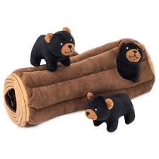 Zippy Paws Zippy Burrow Interactive Dog Toy - Black Bear Log + 3 Bears