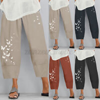 UK Women Summer Wide Legs Elastic Waist Cotton Pants Casual Loose Harem Trousers