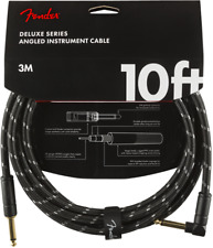 Fender Deluxe Instrument Guitar Cable, Straight/Angle, 10', Black Tweed
