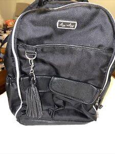 Ritzy Boss Backpack Diaper Bag Black Herringbone Preowned Changing Leather Nice