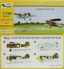 Gloster Gladiador mk.ii + Brewster b-239,Mark 1 ,1:144 ,paquete doble Finlandia