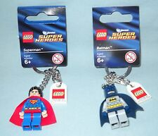 NEW LEGO SUPER HEROES BATMAN & SUPERMAN MINIFIGURE KEY CHAIN, KEY RING,