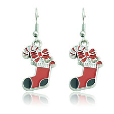Red White Black Enamel Bow Christmas Sock Drop Dangle Hook Earrings Xmas Gift