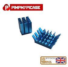 2 X Premium Blue Fin Heat sink Aluminium with Adhesive Pads for Raspberry Pi