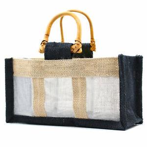 5 x Three Small Jar Jute Gift Bag Bags With cane Handles 22 X 8 X 10.5cm Black