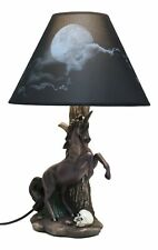 Eclipse Rearing Macabre Black Unicorn Desktop Table Lamp with Full Moon Shade