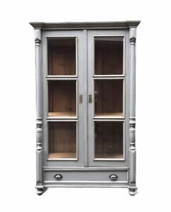 Large Solid Pine Painted Grey Gustavian Style Glazed Display Kitchen Cabinet