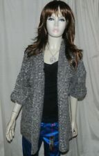 Atmosphere Chunky Knitted Thick Long Cardigan  Chocolate Silver NEW RRP £12