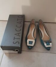 STACCATO Aqua Patent Flat Size 38 New in Box