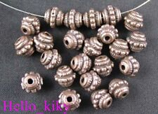100Pcs  Antiqued copper Studed barrel spacer beads A860