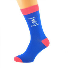 Blue & Salmon Pink Unisex Socks Trust me I'm an Accountant UK Size 5-12 X6N633