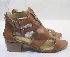 "Summer Tan 1.5"" Block Heel Open Toe Womens Shoes Sexy Sandal Size 8"