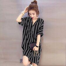 Women Buttons V Neck Stripe Shirt Dress Knee Length Loose Mini Dress Plus Size