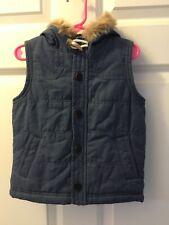 Osh Kosh Girls Blue Hooded Medium Weight Vest Fur Hood Size 3T Nwot