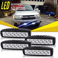 4x 6inch 30W LED Work Driving Light Bar Flood Beam Offroad 4WD Reverse 4x4