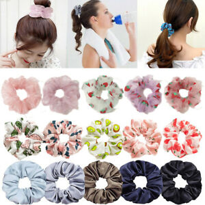 Women Girls Elastic Scrunchies Ponytail Hair Rubber Band Flowers Fruit Hair Ring